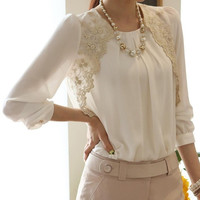 Fashion Elegent Lady Lace Chiffon Embroidery Blouse = 1876518212