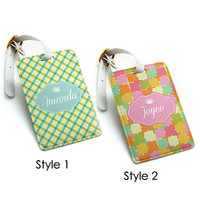 Luggage Tag, Travel Bag Tag, Suitcase Tag, Colorful chic funny candy pattern, Custom wedding favor, monogrammed custom name initial (K40)
