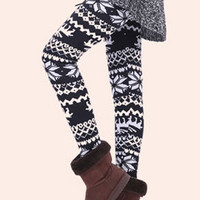 Fashion School Style Cute Outfits Korean New Fall and Winter Snowflake Deer Printed Black Thick Pearl Velvet Leggings