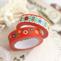 Beatles paper deco tape -red flowers