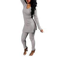 Ophestin Women V Neck Long Sleeve Ribbed Knitted Split Top Bodycon Pants Set 2 Piece Outfits Jumpsuits Playsuits