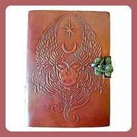 """Goddess"" Leather Journal with Wrap Cord"