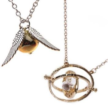 [Pack of 2 Necklaces] Harry Potter Movie Inspired Jewellery Set - Golden Snitch Necklace With Silver Double Side Wings + Hermione Granger's Time Turner Gold Tone - Gift Box:Amazon:Clothing