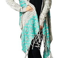Heathered Aztec Mint Teal Trim Long Duster Fringe Cardigan Sweater Gray