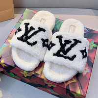 LV Louis vuitton hot sale plush letter embroidery ladies casual sandals beach slippers Shoes