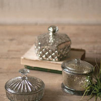 Set of 3 Mercury Glass Containers - One Each Design