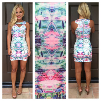 Fractured Blossom Printed Dress