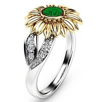 Gold Sunflower Crystal Ring