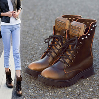 On Sale Leather Winter Rivet Vintage England Style Boots [9535611588]
