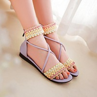 Zipper Flats Sandals Heel Cover Shoes Woman