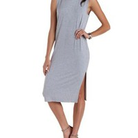 Lt Gray Heather Sleeveless Slit Midi Shift Dress by Charlotte Russe