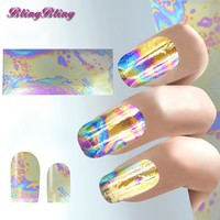 3pcs Shiny Nail Sticker Holographic Nail Art Foil Bling Sticker Decals Mirror Gold Nail Design Decoration DIY Nail Accessories
