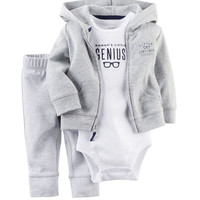 Mommy's Little Genius Outfit. Onesuit/Romper, Pants and Jacket with Hood