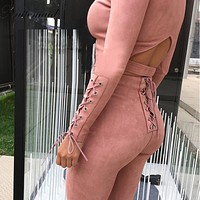 NATTEMAID Fashion style suede Jumpsuit womens Romper Beige color long pants Bodycon Sexy fitted jumpsuits 2 pieces set tracksuit