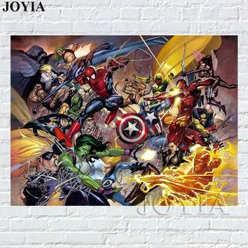 Marvel Heroes Poster, Avengers Warrior War Comics Figures Posters And Prints Home Decor Canvas Art For Kids Boy Room Wall Decor