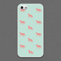 iPhone 5 / 5s case - The horses / peach on mint- iPhone Case, iPhone 5 Case, Cases for iPhone 5 IPHONE 5
