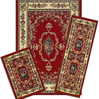Park Avenue Capri 3 Piece Rug Set - Savonnerie Red