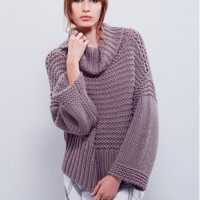 Dropped Shoulder Shawl Collar Solid Knit Loose Pullover Sweater