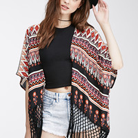 Tasseled Abstract Floral Cardigan