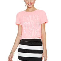 Every Summer Has A Story Pocket Tee - Pink