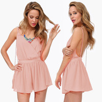 Solid Halter Wrap Backless Flounce Romper