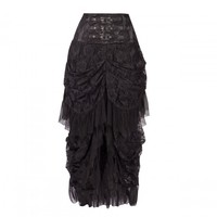 Long Black Lace Skirt with Cascading Layers and Belted Waistband