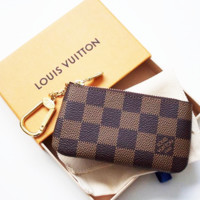 LV Louis Vuitton Monogram Leather Zipper Key Pouch