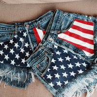 Levi high waisted denim shorts American flag distressed ripped frayed Custom Made To Order Hipster Grunge Clothing by Jeansonly