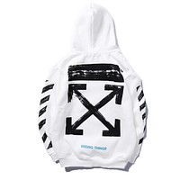 Offwhite Women Men Fashion Casual Pattern Print Long Sleeve Hooded Plus Velvet Top Sweater Pullover