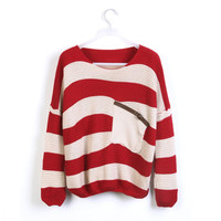 Striped Bat Long Sleeve Loose Sweater from threelittlebirds