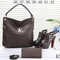 LV  new women's high-quality exquisite three-piece F-KSPJ-BBDL Coffee Plaid Bags
