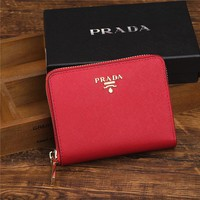 PRADA Trending Zipper bag Women Leather Purse Wallet Black G-YJBD-2H