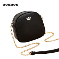 Female Small Bags 2017 Summer New Girls PU Leather Messenger Bags Lady Circular Mini Chain Shoulder Bag Crossbody Bags for Women