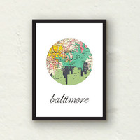 Baltimore skyline art print - Urban Art -  Baltimore cityscape - graphic 5x7 print
