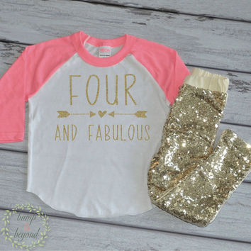 Four And Fabulous Outfit Kid's Birthday Shirt Fourth Birthday Shirt Girl's Fourth Birthday Raglan Shirt and Gold Sequin Pants 181