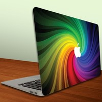 MacBook Air or MacBook Pro -13-Inch Vinyl, Removable Skin - Apple Rainbow Paint Swirl