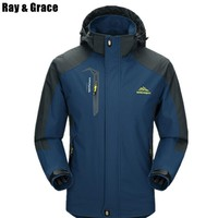 RAY GRACE Spring Waterproof Outdoor Hiking Jacket For Men Climbing Camping Trekking Windproof Outerwear Male Hiking Jacket