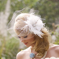 Wedding Headpiece - Ivory White Birdcage Veil - Flower Hair Accessory - Blusher Veil - Pearl Brial Accessory - Feather Fascinator