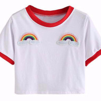 Rainbow Patch Crop Top