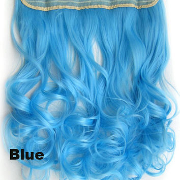 Blue Ombre Colorful Candy Clip in Hair Extensions 1Weft=5pcs Body Wave Texture Hair Synthetic Hair Extension, High Quality Wig U pick