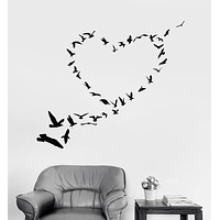 Vinyl Wall Decal Heart Birds Love Romantic Art Decor Stickers Unique Gift (ig4652)