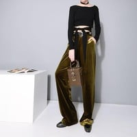 Basho Velvet Luxury Pants - Olive Green