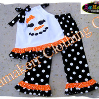 Girly Snowman Christmas Outfit Set Girl Custom Boutique Clothing Christmas Ruffle Pant 3 6 9 12 18 24 month size 2T 2 3T 3 4T 4 5T 5 6 7 8
