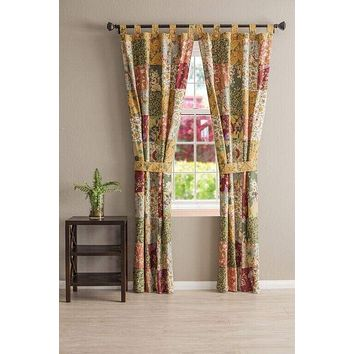 Greenland Home Fashions Claremont Collection Antique Chic Multi Color Panel Pair-Patchwork