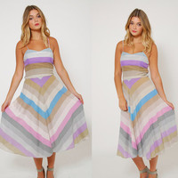 Vintage 70s Pastel CHEVRON Stripe SUNDRESS Fit and Flare Dress STRIPED Summer Dress