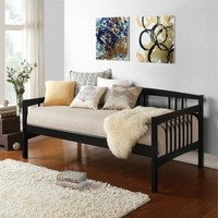 Twin Size Black Solid Wood Day Bed Frame with Wooden Slats