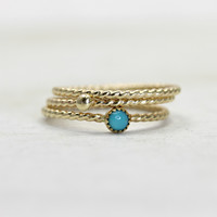 Turquoise Stacking Rings in Solid Gold