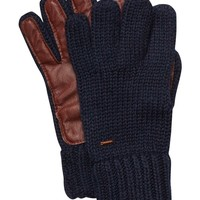 Knitted Gloves With Leather - Scotch & Soda