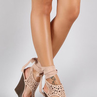 Bamboo Suede Leg Wrap Perforated Platform Wedge Color: Nude, Size: 9