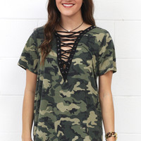 Military Strappy Lace Up Tee {Army Camo}